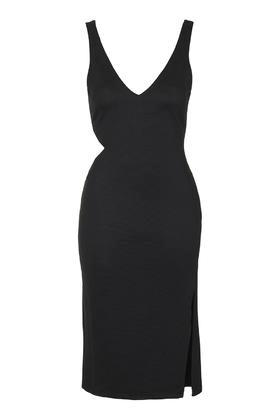 Topshop V Neck Split Ribbed Midi Dress