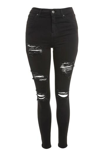 Topshop Moto Washed Black Super Ripped Jamie Jeans