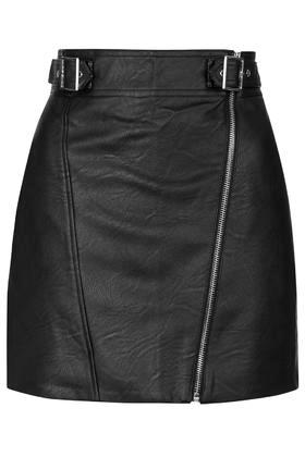 Topshop Pu Biker Mini Skirt