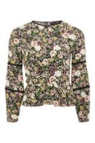 Topshop Floral Twist Wrap Blouse