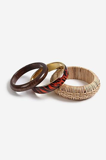 Topshop *mixed Wicker Bangle Pack
