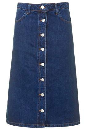 Topshop Moto Denim Button Midi Skirt