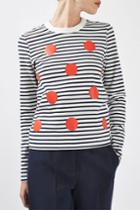 Topshop Polka Stripe Top By Boutique