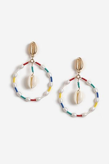 Topshop Beaded Hoop Shell Drop Earrings