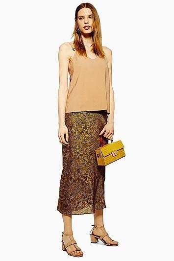 Topshop Animal Bias Midi Skirt