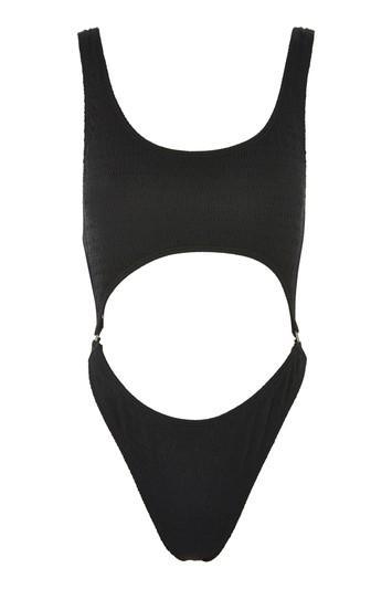 b7049b941c Topshop Shirred Split Middle Swimsuit