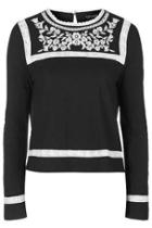 Topshop Embroidered Smock Top