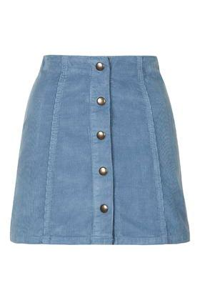 Topshop Cord Popper A-line Mini Skirt