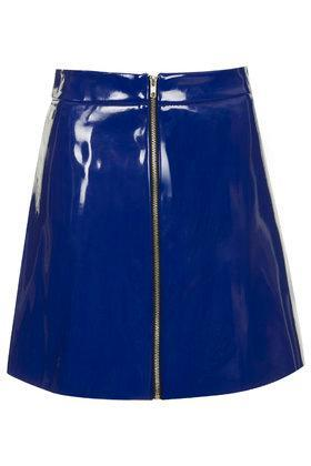 Topshop Vinyl A-line Skirt