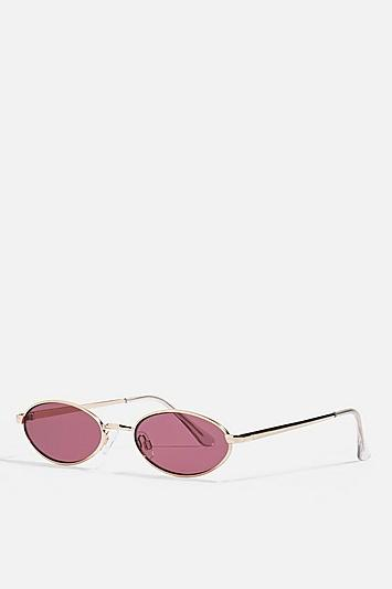 Topshop Slender Oval Gold And Plum Sunglasses