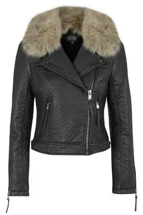 Topshop Faux Fur Collar Biker Jacket