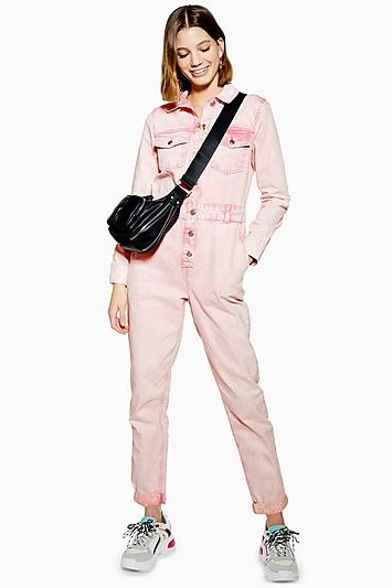 Topshop Pink Acid Wash Boiler Suit