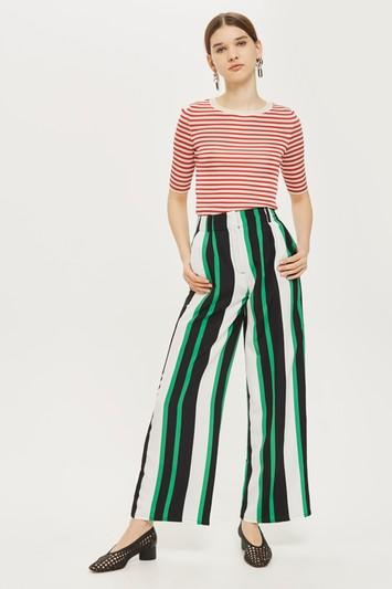 Topshop Wide Leg Striped Trousers