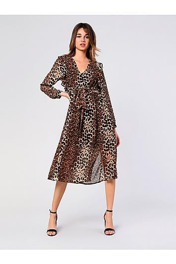 Topshop *leopard Plunge Midi Dress By Glamorous