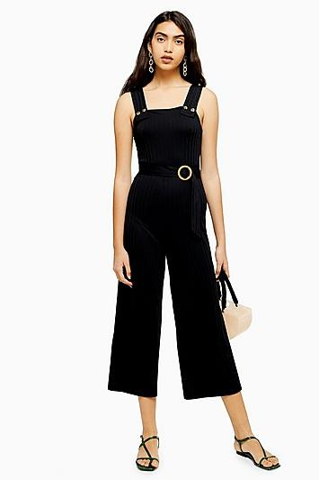 Topshop Ribbed Belted Pinafore Jumpsuit