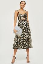 Topshop *floral Corset Midi Dress