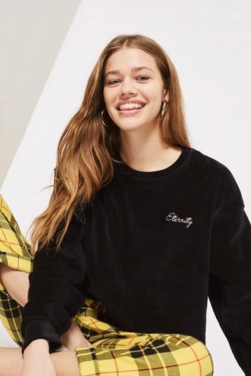 Topshop 'eternity' Slogan Velvet Sweatshirt