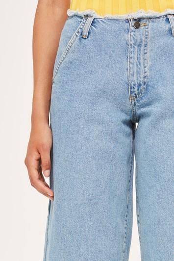 Topshop Super Wide Leg Frayed Jeans By Boutique