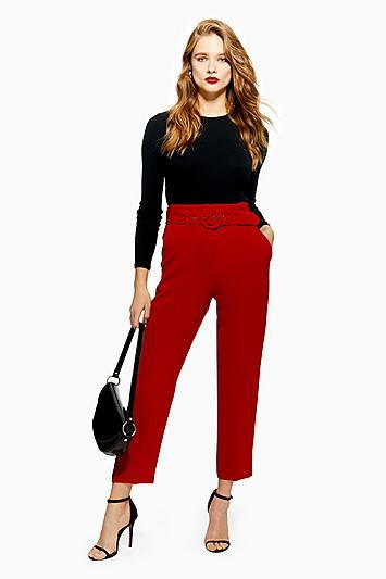 Topshop Covered Belt Tapered Trousers