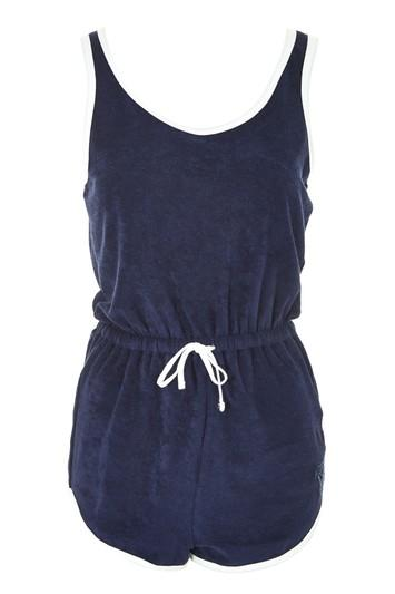 Topshop Towelling Palm Badge Playsuit