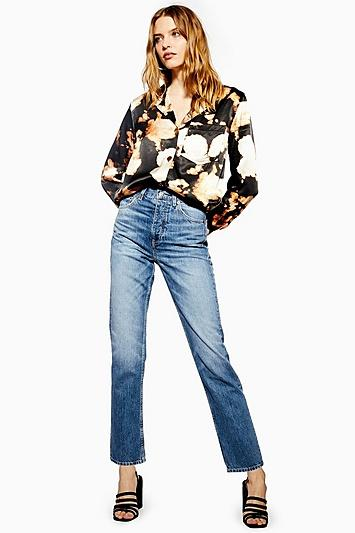 Topshop Petite Mid Blue Editor Jeans