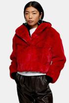 Topshop Red Cropped Faux Fur Coat