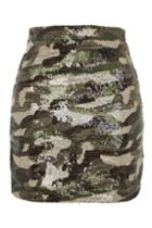 Topshop Sequin Camouflage Mini Skirt