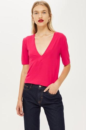 Topshop *deep V-neck T-shirt