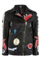 Topshop Fine Painted Biker Jacket
