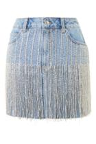 Topshop Moto Crystal Seam Denim Skirt