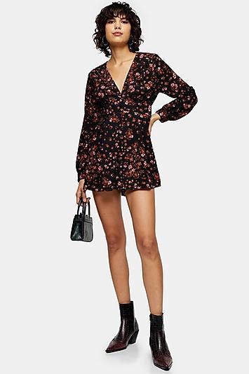 Topshop Black Floral Print Playsuit