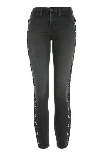 Topshop Petite Super Lace Up Jamie Jeans