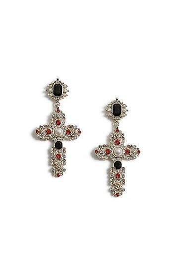 Topshop Crystal Drop Cross Earrings