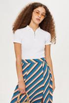 Topshop Plain Zip Polo Shirt