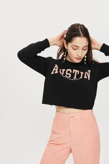 Topshop Tall 'austin' Crop Sweatshirt