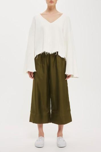 Topshop Cropped Wide Leg Silk Joggers By Boutique