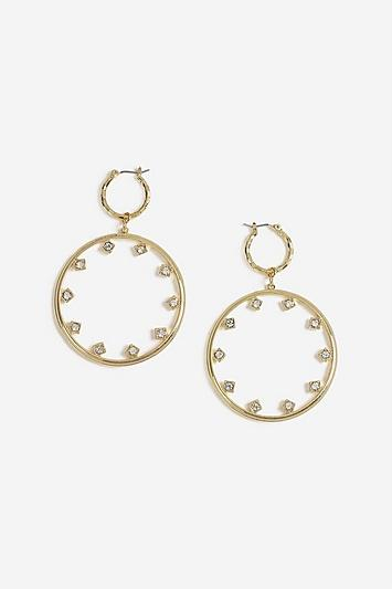 Topshop Crystal Stud Drop Hoops