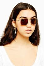 Topshop Gold And Brown Metal Square Sunglasses