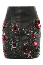 Topshop Stud Floral Leather Mini Skirt