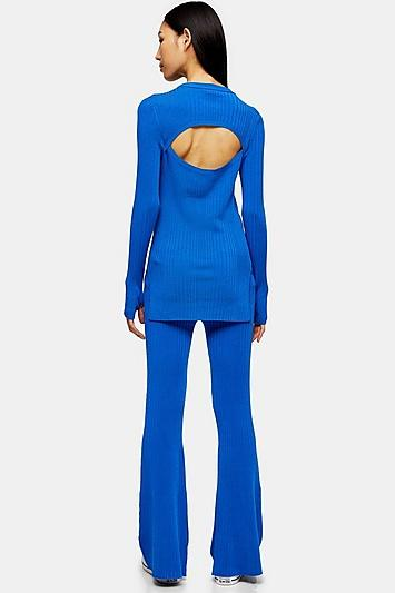 *cobalt Blue Flare Knit Trousers By Topshop Boutique