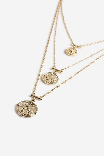 Topshop *medallion Multirow Necklace