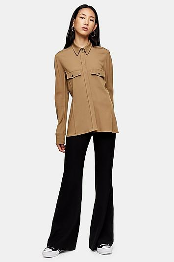 *camel Pintuck Shirt By Topshop Boutique