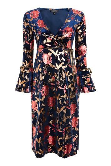Topshop Foil Floral Plunge Wrap Dress
