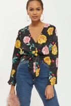 Topshop Tall Floral Print Plunge Blouse