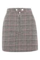 Topshop Tall Zip Popper Checked Skirt