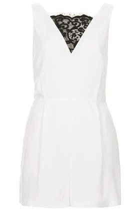 Topshop Lace Front Playsuit