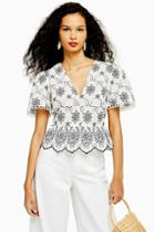 Topshop Contrast Embroidered Top