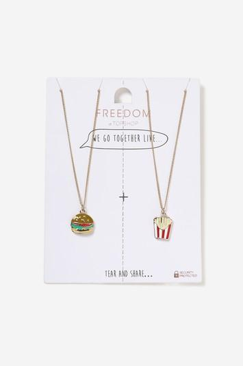 Topshop Fries And Burger Multipack Necklace