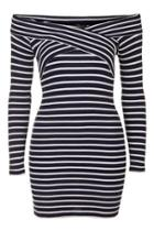Topshop Tall Stripe Bardot Dress
