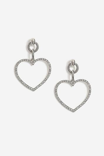 Topshop Crystal Heart Link Drop Earrings